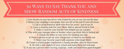 50 Ways to Be Thankful and Show Random Acts of Kindness
