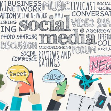 Various terms related to social media, business work flow items and elements, office things, computer and electronic devices. Concept for web banner and promotional material.